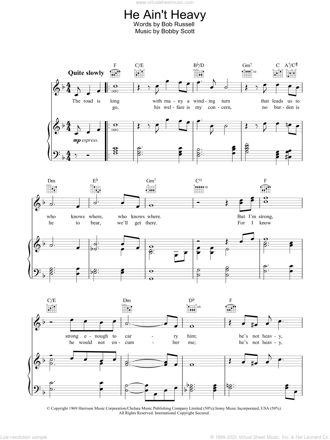 He Ain't Heavy, He's My Brother sheet music for voice, piano or guitar by The Choirboys, Neil Diamond, The Hollies, Bob Russell and Bobby Scott, intermediate skill level