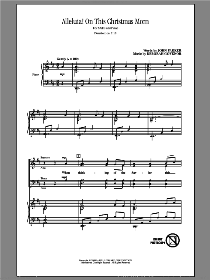 Alleluia! On This Christmas Morn sheet music for choir (SATB: soprano, alto, tenor, bass) by John Parker and Deborah Govenor, intermediate skill level