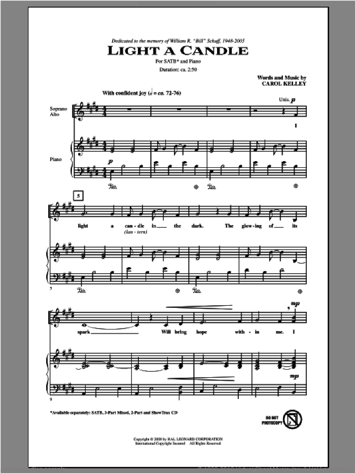 Light A Candle sheet music for choir and piano (SATB) by Carol Kelley. Score Image Preview.