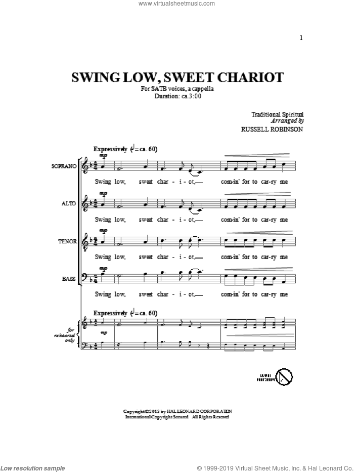 Swing Low, Sweet Chariot sheet music for choir (SATB: soprano, alto, tenor, bass) by Russell Robinson, intermediate skill level
