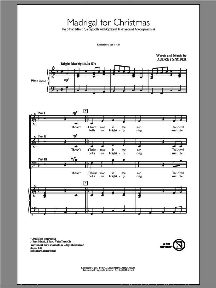 Madrigal For Christmas sheet music for choir (chamber ensemble) by Audrey Snyder, Christmas carol score, intermediate choir (chamber ensemble). Score Image Preview.