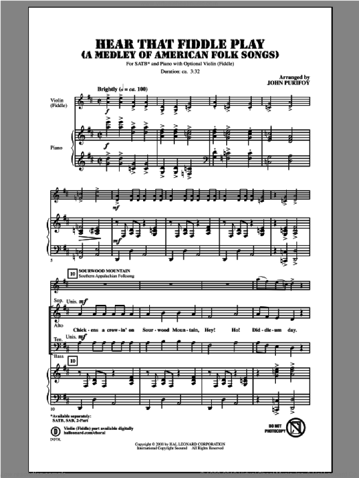 Hear That Fiddle Play (A Medley of American Folk Songs) sheet music for choir and piano (SATB) by John Purifoy. Score Image Preview.