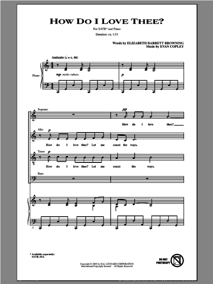How Do I Love Thee? sheet music for choir and piano (SATB) by Evan Copley