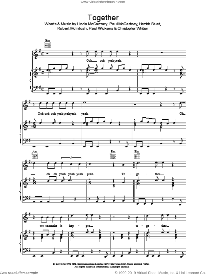Together sheet music for voice, piano or guitar by Paul McCartney, Christopher Whitten, Hamish Stuart, Linda McCartney, Paul Wickens and Robbie McIntosh, intermediate skill level