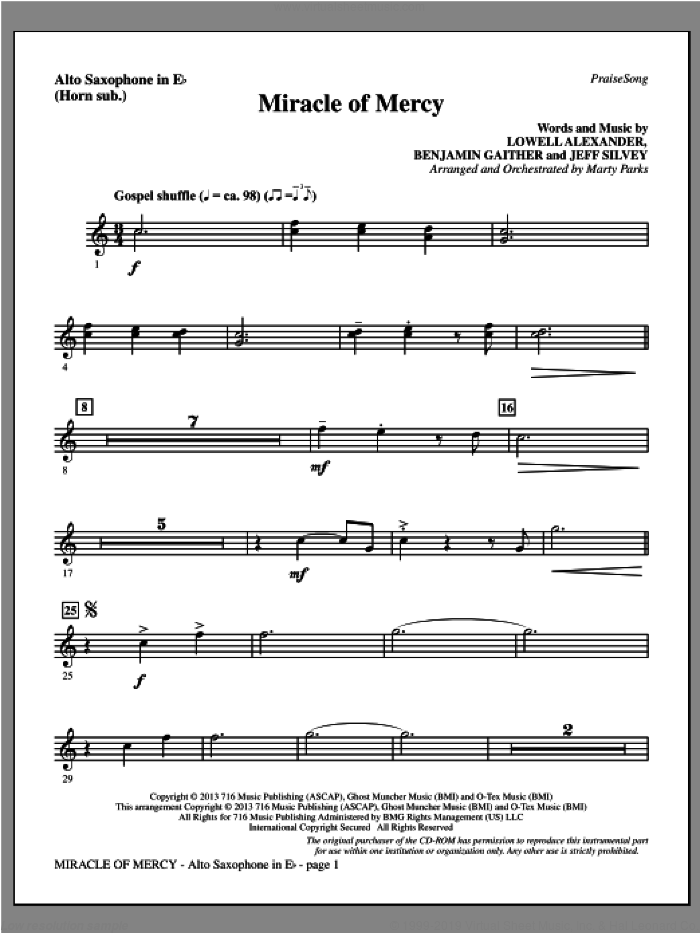 Miracle of Mercy sheet music for orchestra/band (alto sax, sub. horn) by Benjamin Gaither