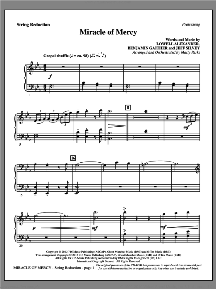 Miracle of Mercy sheet music for orchestra/band (keyboard string reduction) by Benjamin Gaither