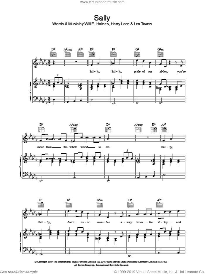 Sally sheet music for voice, piano or guitar by Will Haines, Paul McCartney and Harry Leon. Score Image Preview.