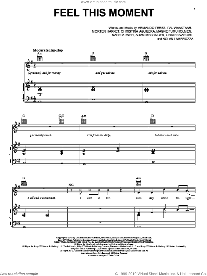 Feel This Moment sheet music for voice, piano or guitar by Pitbull. Score Image Preview.