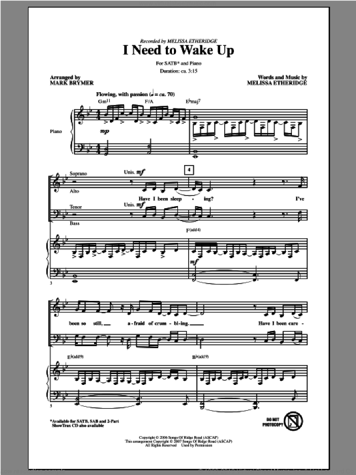 I Need To Wake Up sheet music for choir and piano (SATB) by Mark Brymer and Melissa Etheridge. Score Image Preview.