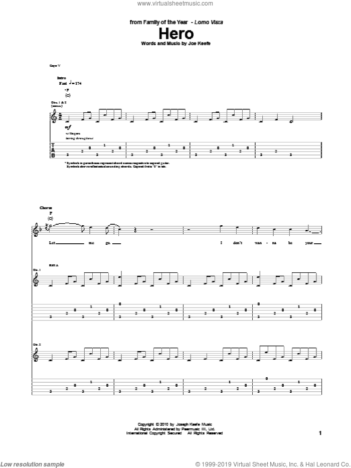 Hero sheet music for guitar (tablature) by Family Of The Year and Joe Keefe, intermediate