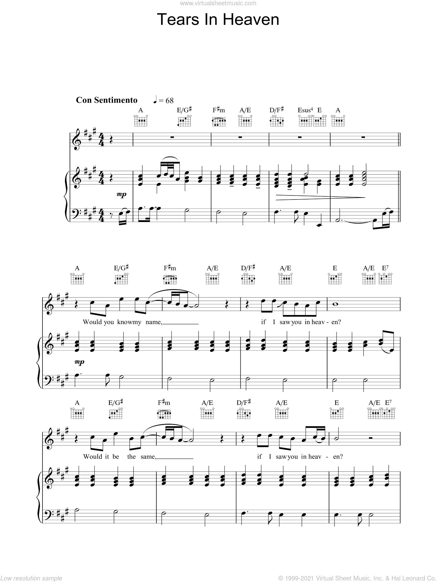 Tears In Heaven sheet music for voice, piano or guitar by Will Jennings, The Choirboys and Eric Clapton. Score Image Preview.