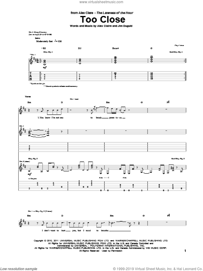 Too Close sheet music for guitar (tablature) by Alex Claire
