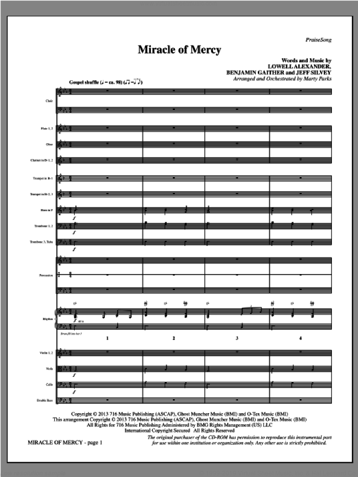 Miracle of Mercy (COMPLETE) sheet music for orchestra/band by Lowell Alexander, intermediate orchestra/band. Score Image Preview.