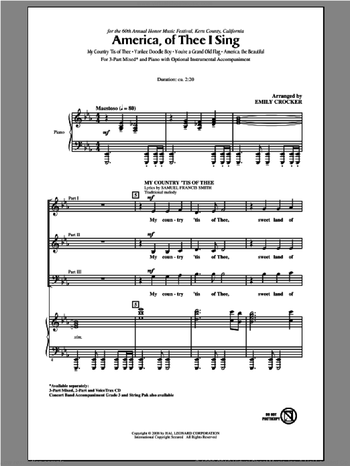 America, Of Thee I Sing sheet music for choir (3-Part Mixed) by Samuel Augustus Ward, Emily Crocker and Katherine Lee Bates, intermediate skill level