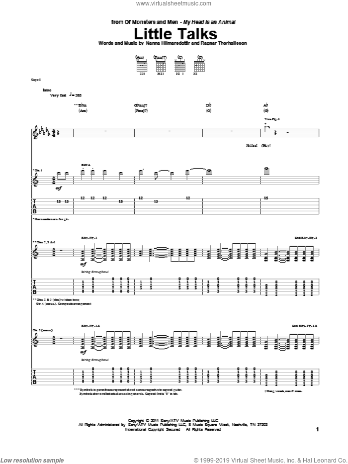 Little Talks sheet music for guitar (tablature) by Of Monsters And Men