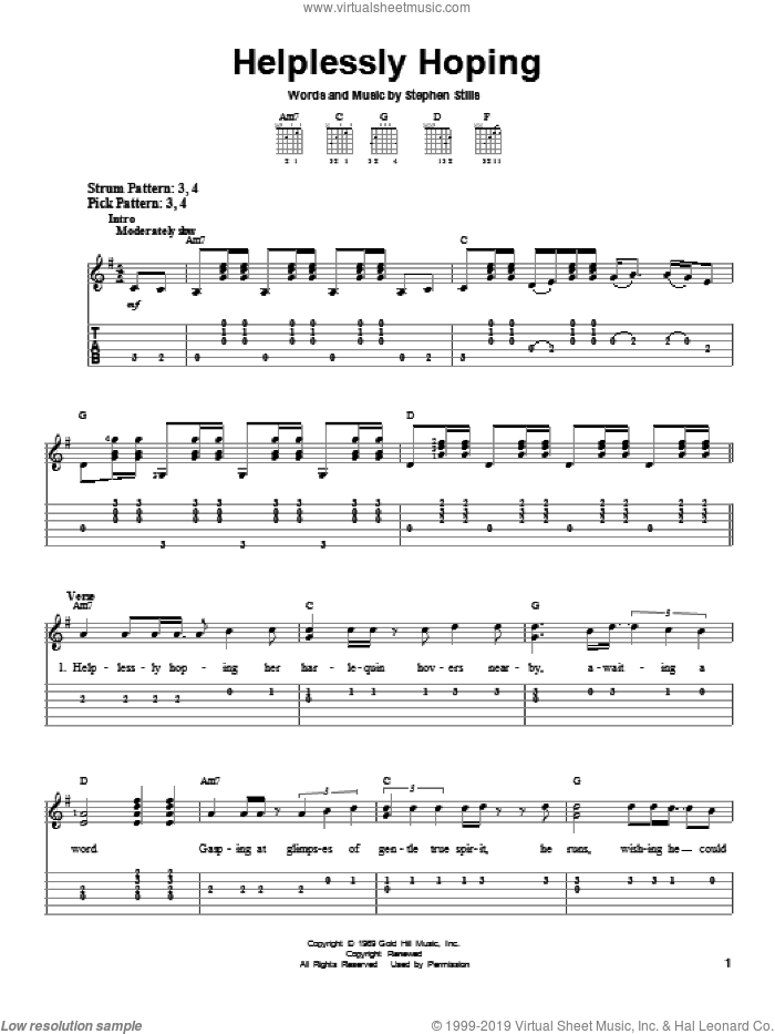 Helplessly Hoping sheet music for guitar solo (easy tablature) by Crosby, Stills & Nash