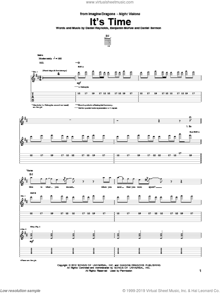 It's Time sheet music for guitar (tablature) by Imagine Dragons. Score Image Preview.