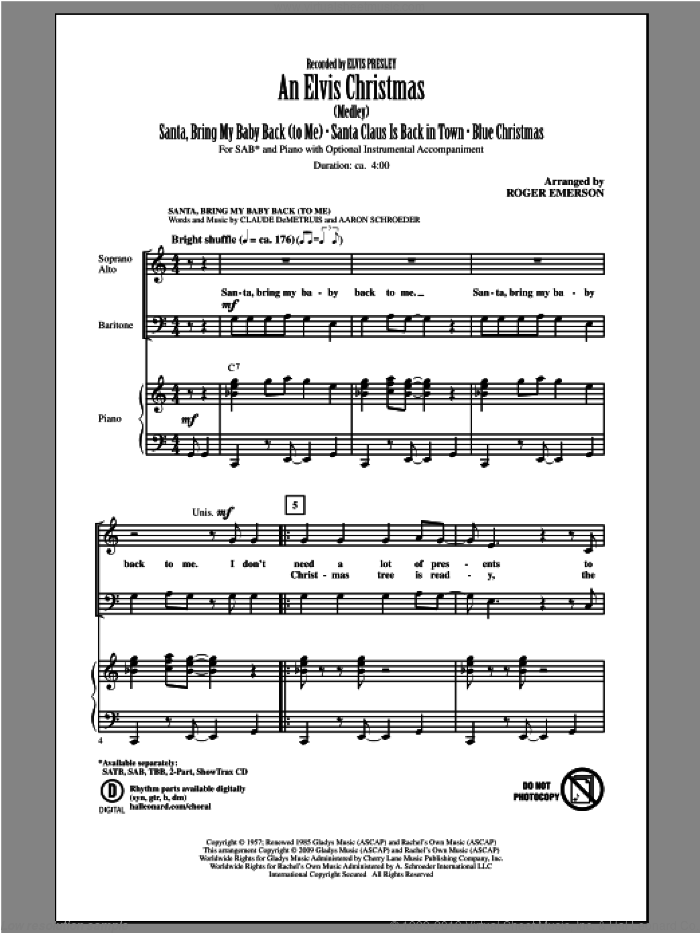 An Elvis Christmas sheet music for choir (SAB: soprano, alto, bass) by Elvis Presley and Roger Emerson, intermediate skill level