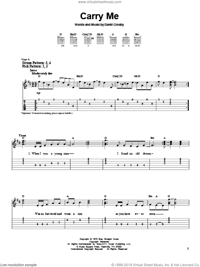 Carry Me sheet music for guitar solo (easy tablature) by Crosby, Stills & Nash