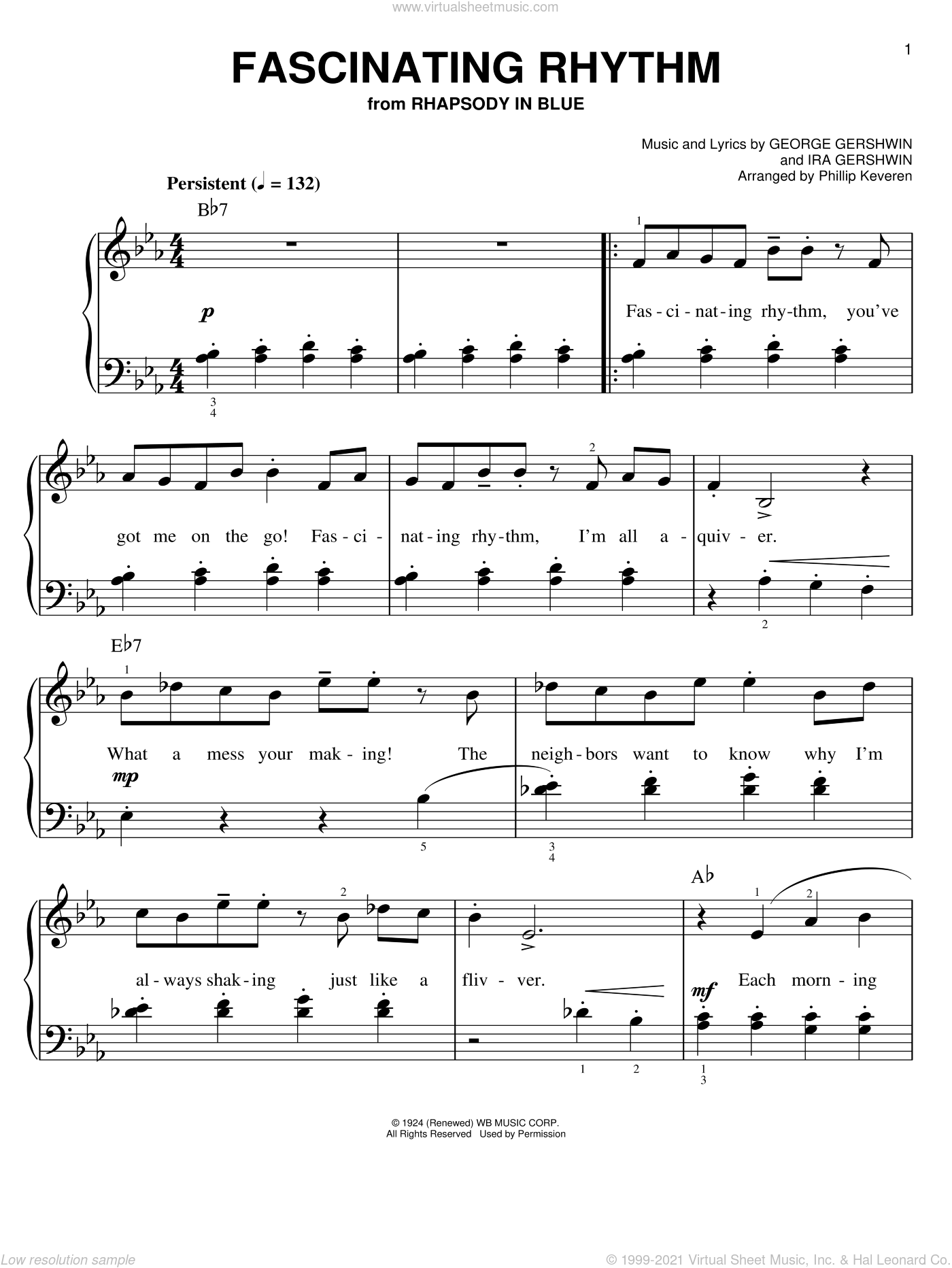 Fascinating Rhythm sheet music for piano solo by Phillip Keveren, George Gershwin and Ira Gershwin, easy skill level