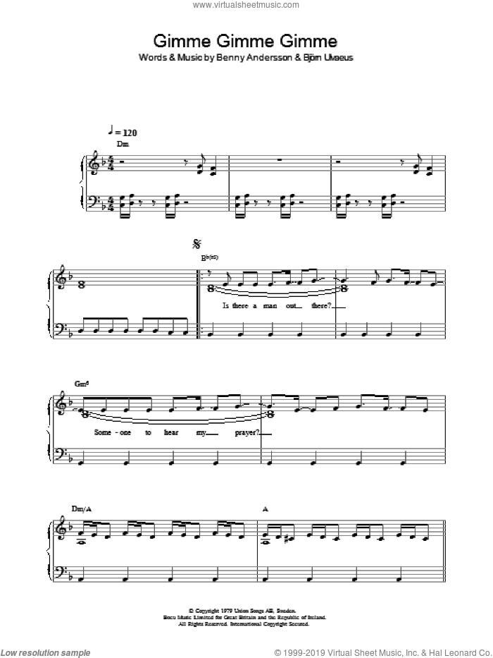 Gimme! Gimme! Gimme! (A Man After Midnight) sheet music for voice, piano or guitar by Bjorn Ulvaeus, ABBA and Benny Andersson. Score Image Preview.