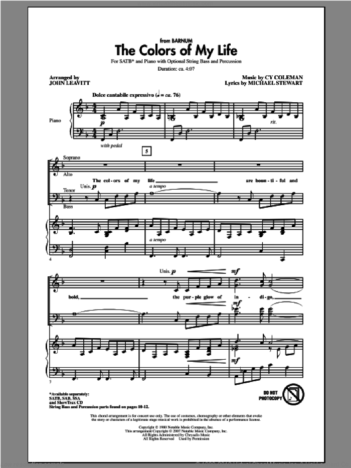 The Colors Of My Life sheet music for choir (SATB: soprano, alto, tenor, bass) by John Leavitt, intermediate. Score Image Preview.