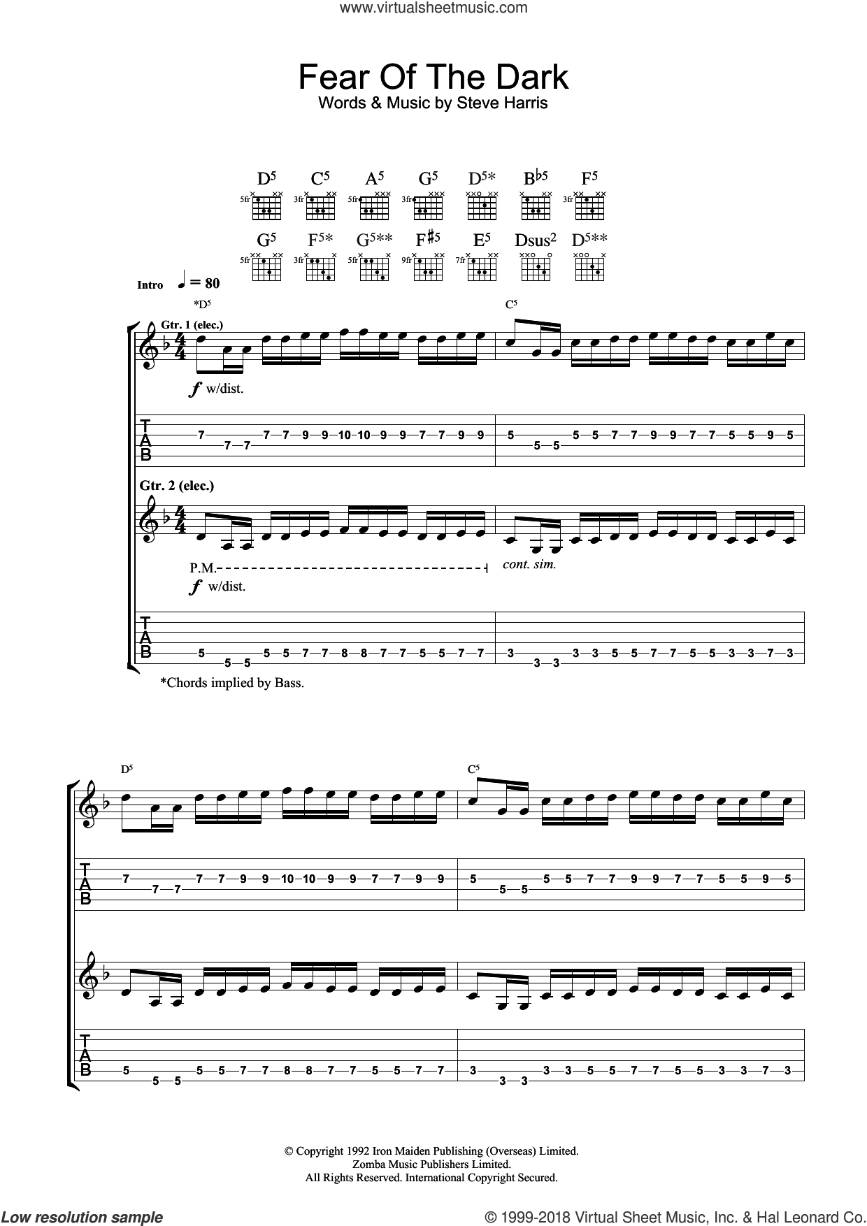 Fear Of The Dark sheet music for guitar (tablature) by Iron Maiden and Steve Harris, intermediate skill level