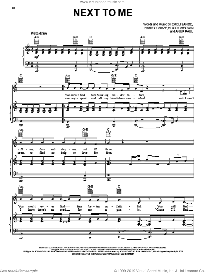 Next To Me sheet music for voice, piano or guitar by Emeli Sande, intermediate skill level