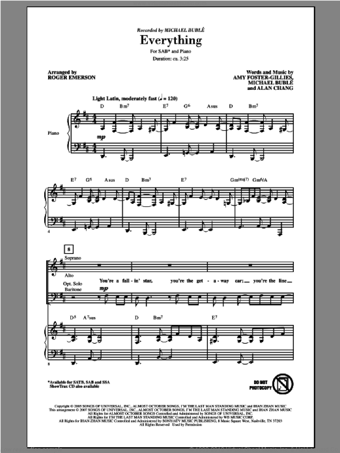 Everything sheet music for choir (SAB) by Roger Emerson and Michael Buble. Score Image Preview.