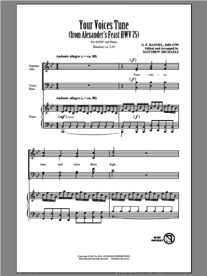 Your Voices Tune (from Alexander's Feast) sheet music for choir and piano (SATB) by George Frideric Handel and Matthew Michaels. Score Image Preview.
