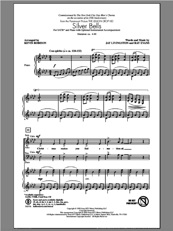 Silver Bells sheet music for choir and piano (SATB) by Kevin Robison. Score Image Preview.