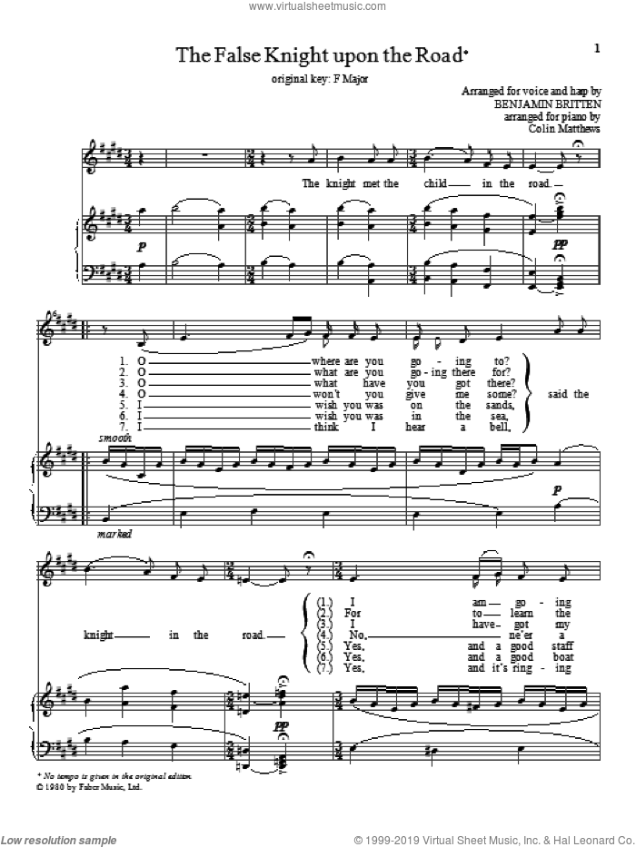 The False Knight upon the Road sheet music for voice and piano (High Voice) by Benjamin Britten, classical score, intermediate skill level