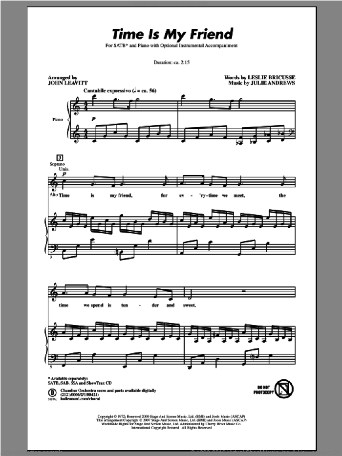 Time Is My Friend sheet music for choir and piano (SATB) by John Leavitt