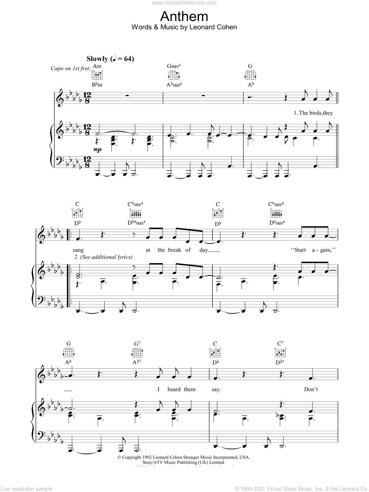 Anthem sheet music for voice, piano or guitar by Leonard Cohen, intermediate skill level