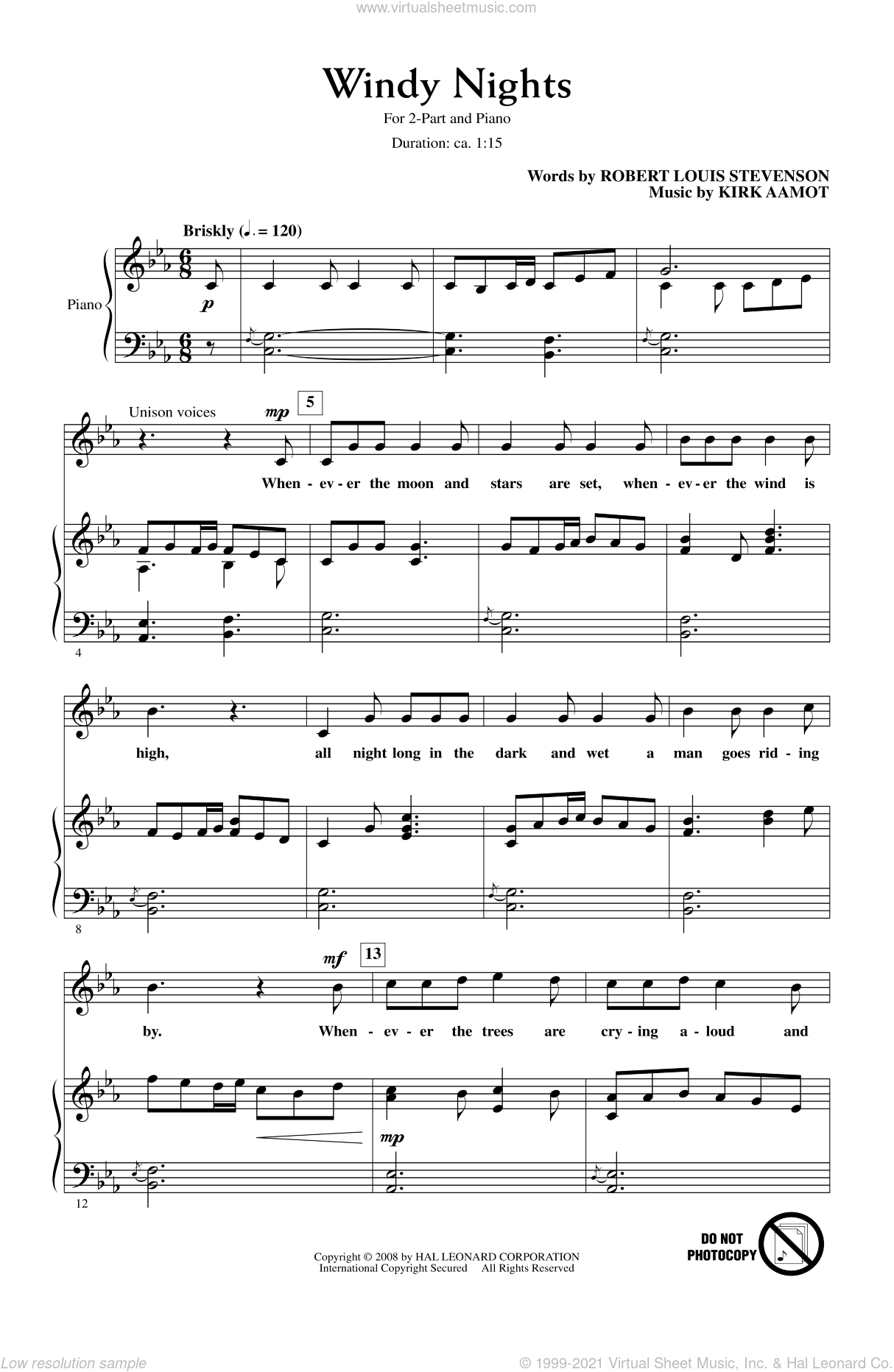 Windy Nights sheet music for choir (2-Part) by Kirk Aamot, intermediate duet. Score Image Preview.