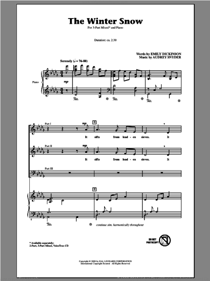 The Winter Snow sheet music for choir (chamber ensemble) by Audrey Snyder and Emily Dickinson. Score Image Preview.