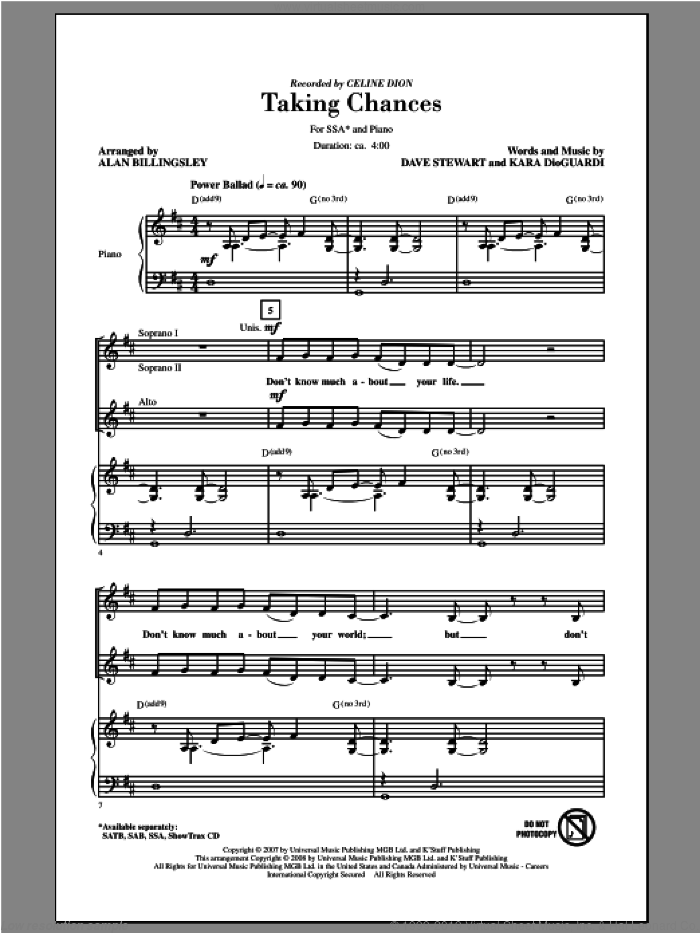 Taking Chances sheet music for choir and piano (SSA) by Alan Billingsley