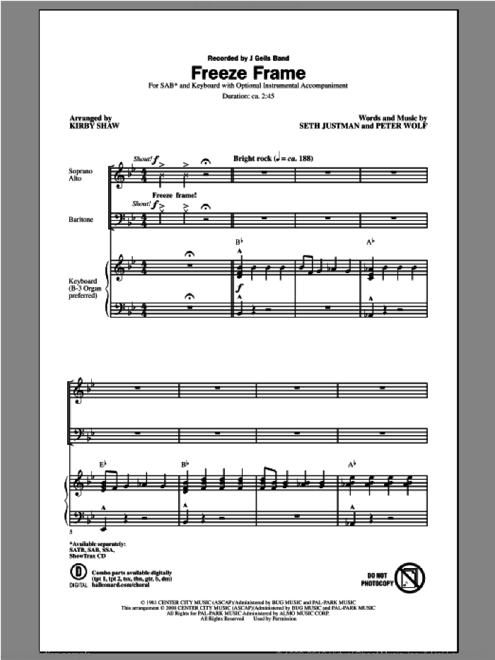 Freeze Frame sheet music for choir (SAB) by Kirby Shaw and J. Geils Band, intermediate choir (SAB). Score Image Preview.