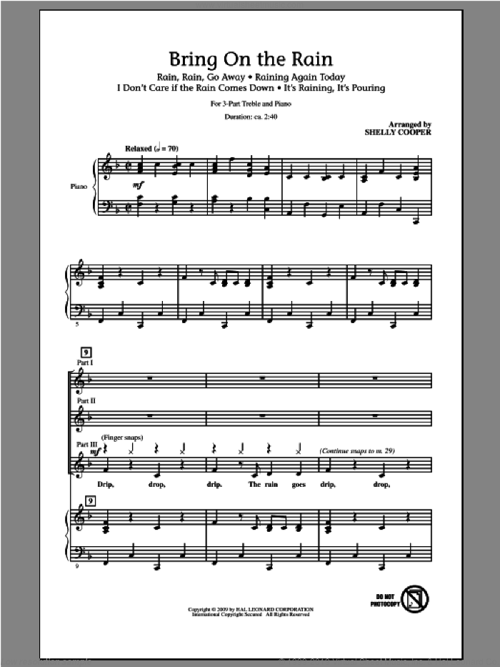 Bring On The Rain (Medley) sheet music for choir (chamber ensemble) by Shelly Cooper. Score Image Preview.