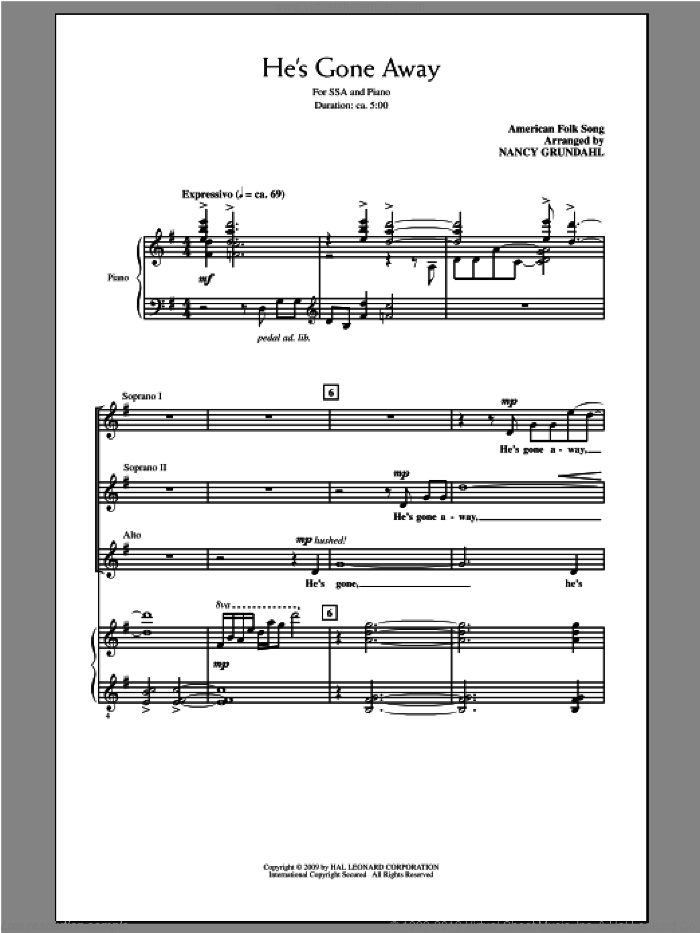 He's Gone Away sheet music for choir (soprano voice, alto voice, choir) by Nancy Grundahl. Score Image Preview.
