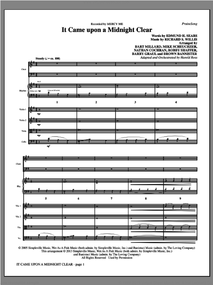 It Came Upon A Midnight Clear sheet music for orchestra/band (full score) by Harold Ross and MercyMe. Score Image Preview.
