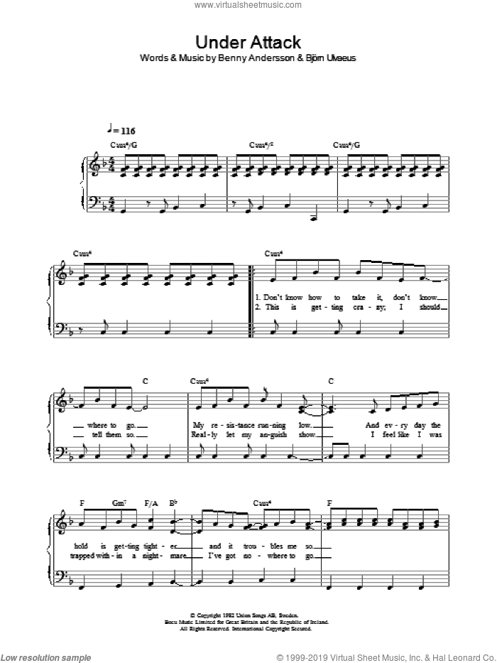 Under Attack sheet music for voice, piano or guitar by ABBA, Benny Andersson and Bjorn Ulvaeus, intermediate skill level