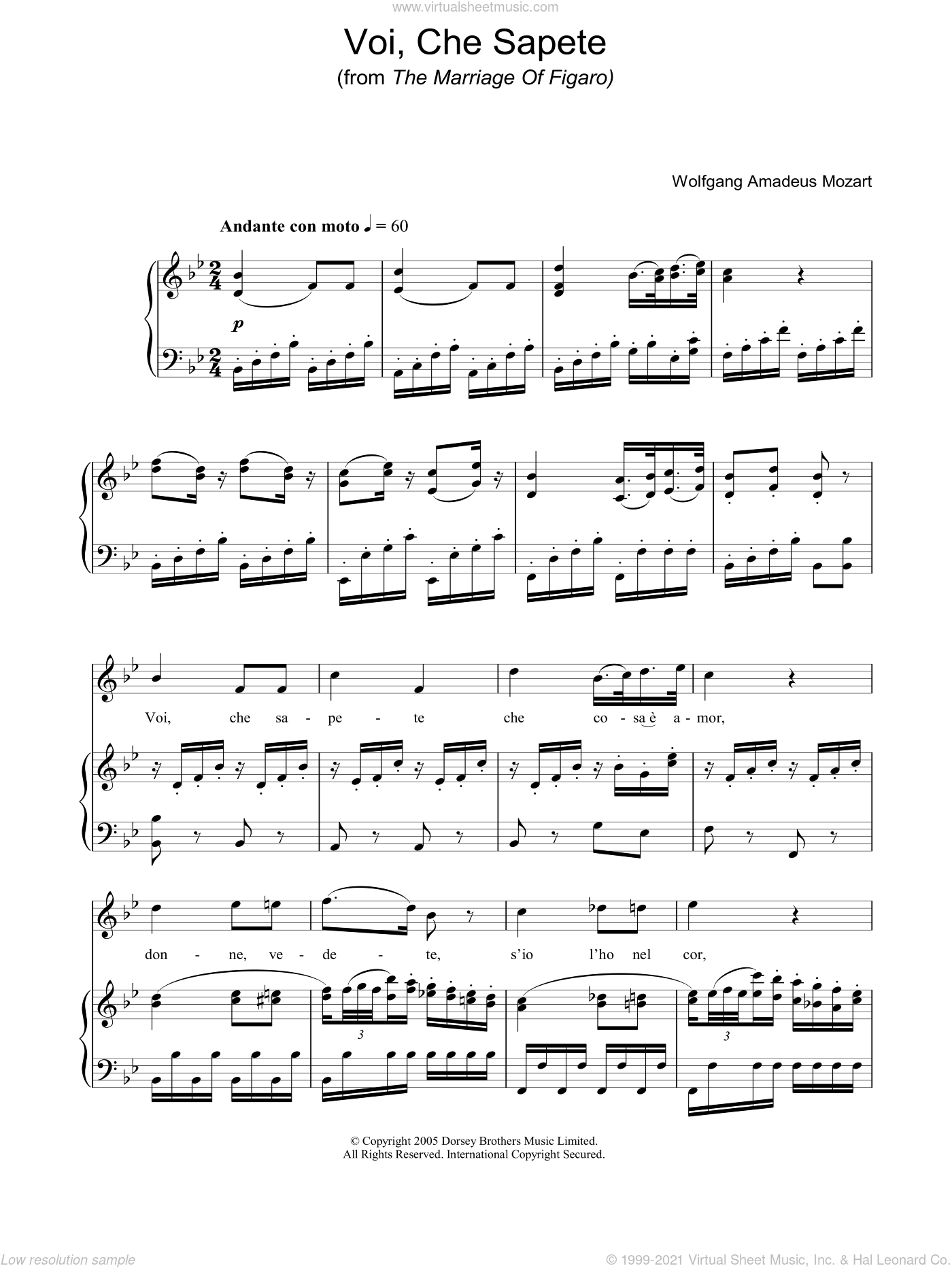 Voi Che Sapete (from The Marriage Of Figaro) sheet music for voice, piano or guitar by Wolfgang Amadeus Mozart, classical score, intermediate skill level