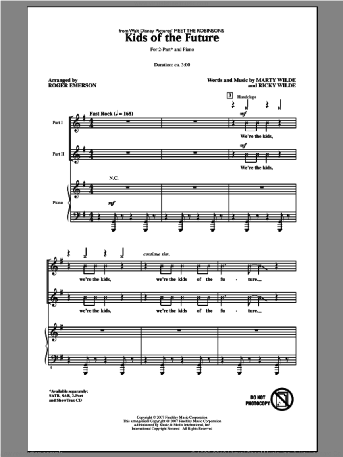 Kids Of The Future sheet music for choir and piano (duets) by Roger Emerson. Score Image Preview.