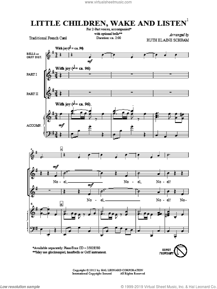 Little Children, Wake And Listen sheet music for choir (duets) by Ruth Elaine Schram. Score Image Preview.