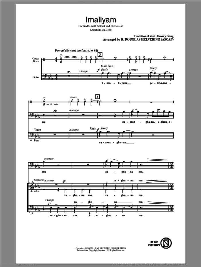 Imaliyam sheet music for choir (SATB) by R. Douglas Helvering. Score Image Preview.