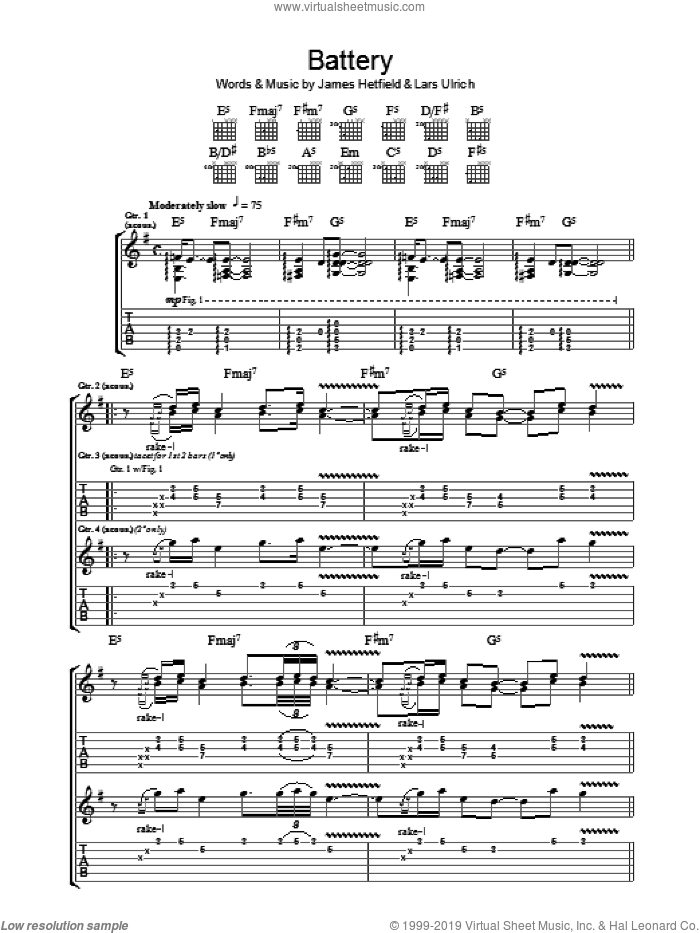 Battery sheet music for guitar (tablature) by Lars Ulrich, Metallica and James Hetfield. Score Image Preview.