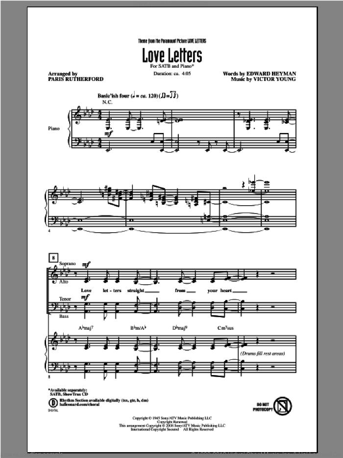 Love Letters sheet music for choir (SATB: soprano, alto, tenor, bass) by Paris Rutherford, intermediate skill level