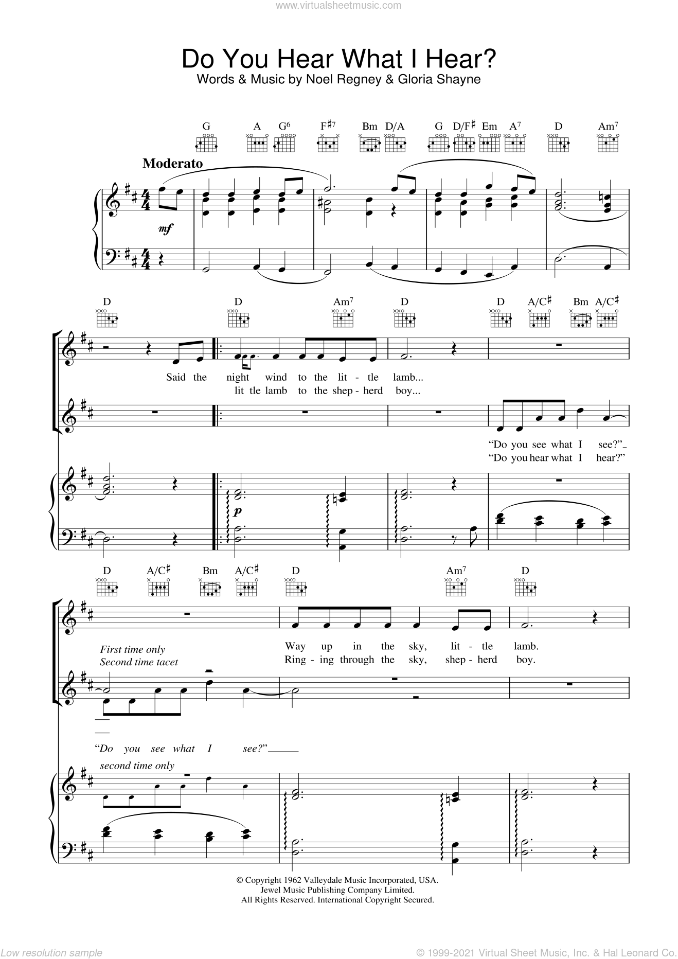 Do You Hear What I Hear sheet music for voice, piano or guitar by Noel Regney