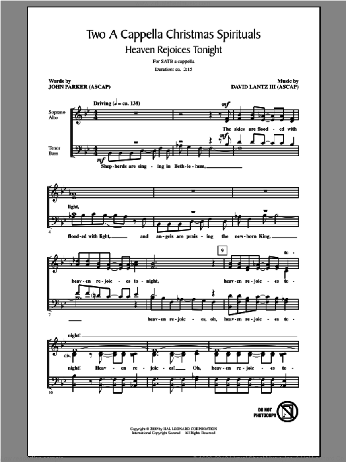 Two A Cappella Christmas Spirituals sheet music for choir (SATB) by John Parker and David Lanz. Score Image Preview.